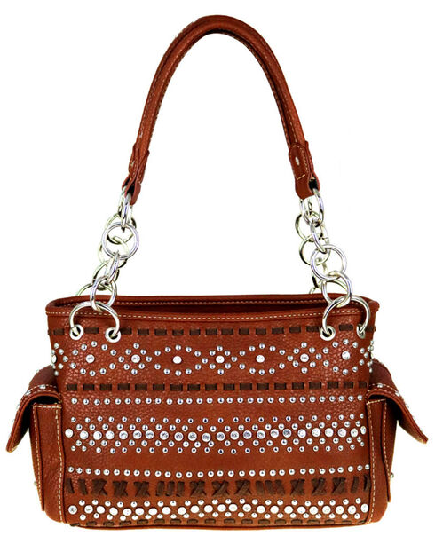 Montana West Women's Bling and Stitched Pattern Concealed Carry Satchel , , hi-res