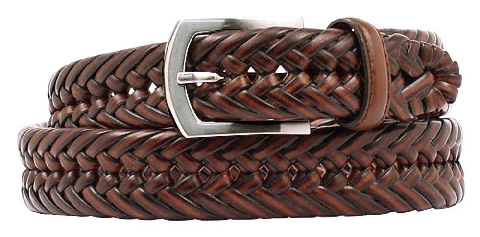 Nocona Braided Leather Belt, Brown, hi-res