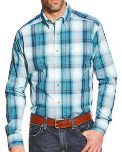 Ariat Men's Blue Plaid Watson Pro Series Shirt , Multi, hi-res