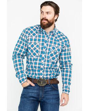Wrangler 20X Men's Plaid Advanced Competition Long Sleeve Western Shirt - Big & Tall, Blue, hi-res