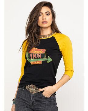Rock & Roll Cowgirl Women's Rancho Inn Graphic Baseball Tee, Dark Yellow, hi-res