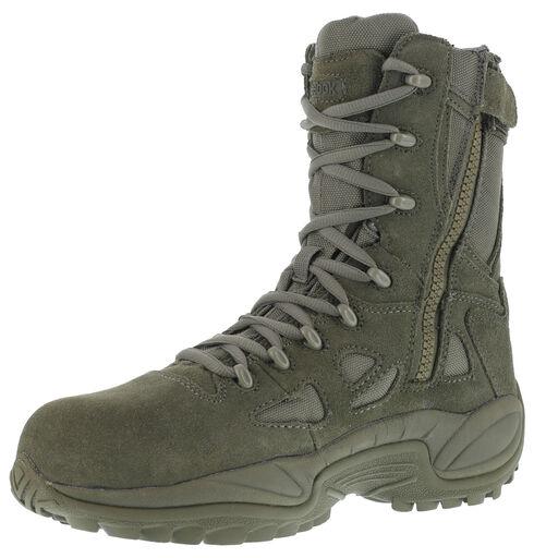 "Reebok Men's Stealth 8"" Lace-Up Side-Zip Work Boots - Composition Toe, Sage, hi-res"