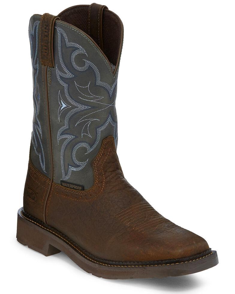 Justin Men's Slate Waterproof Western Work Boots - Square Toe, Brown, hi-res