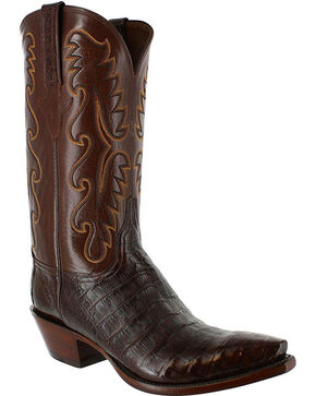 Lucchese Men's Handmade Exotic Caiman Western Boots, Black, hi-res