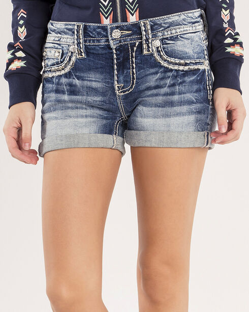Miss Me Women's Thick Stitched Pockets Rolled Stretch Shorts, Indigo, hi-res