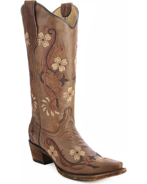 Circle G Floral Embroidered Cowgirl Boots - Snip Toe, Brown, hi-res