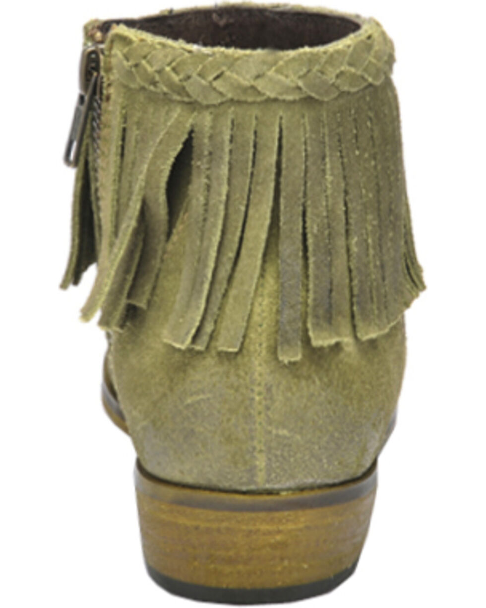 Circle G Suede Braided Fringe Short Boots - Round Toe, Green, hi-res