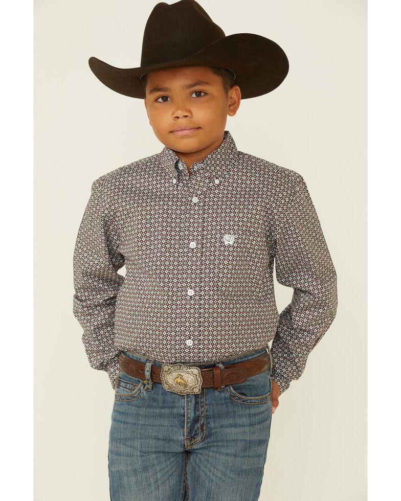 Cinch Boys' Brown Geo Print Long Sleeve Button-Down Western Shirt , Brown, hi-res
