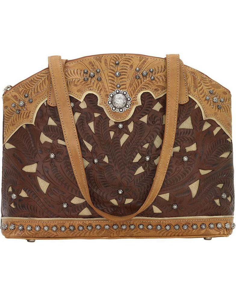 American West Women's Annie's Conceal Carry Half Moon Purse , Chestnut, hi-res