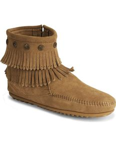 Minnetonka Double Fringe Side Zip Moccasin, Taupe, hi-res