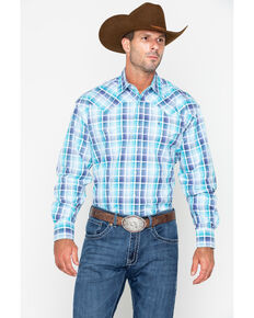 Stetson Men's Blue Medium Plaid Snap Long Sleeve Western Shirt , Blue, hi-res