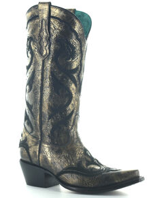 Corral Women's Gold Embroidery & Studs Western Boots - Snip Toe, Gold, hi-res