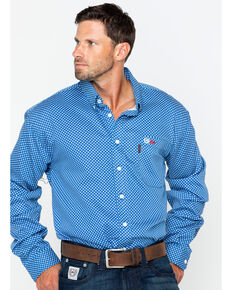 Cinch WRX Men's FR Royal Print Lightweight Button Down Work Shirt, Royal Blue, hi-res