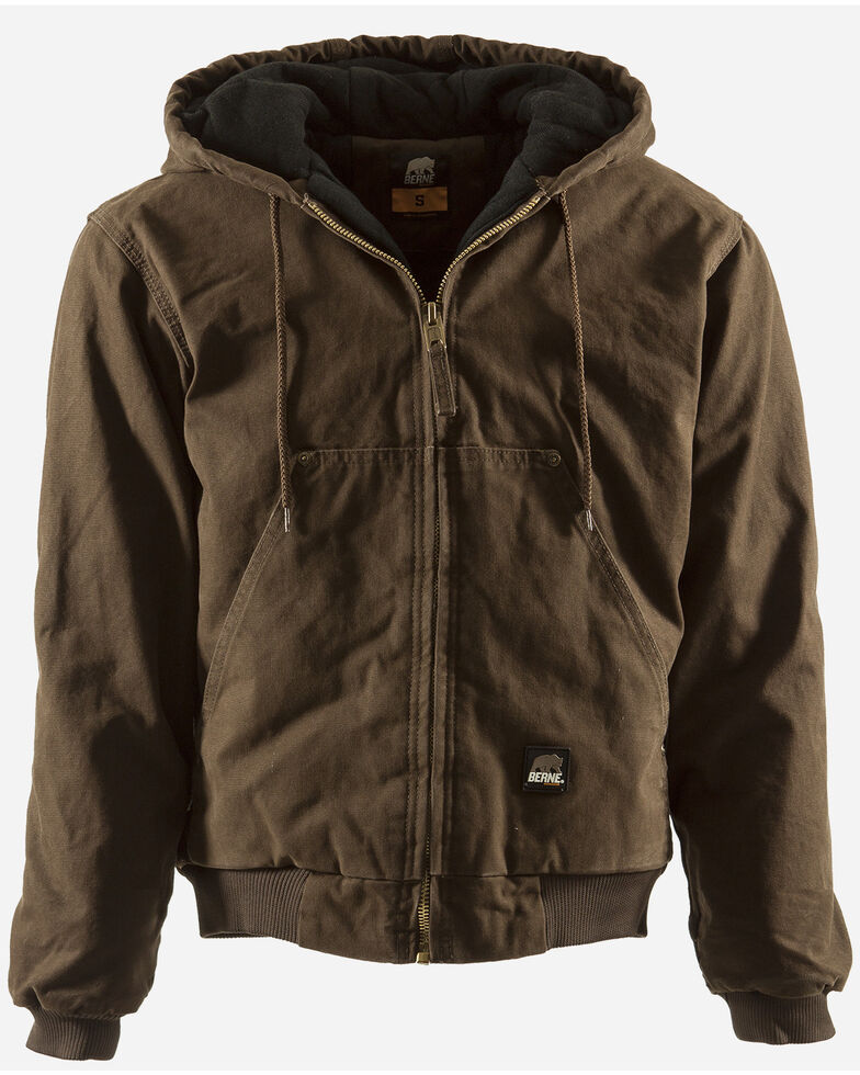 Berne Men's Original Washed Hooded Work Jacket - Quilt Lined - XLT and 2XT, Bark, hi-res