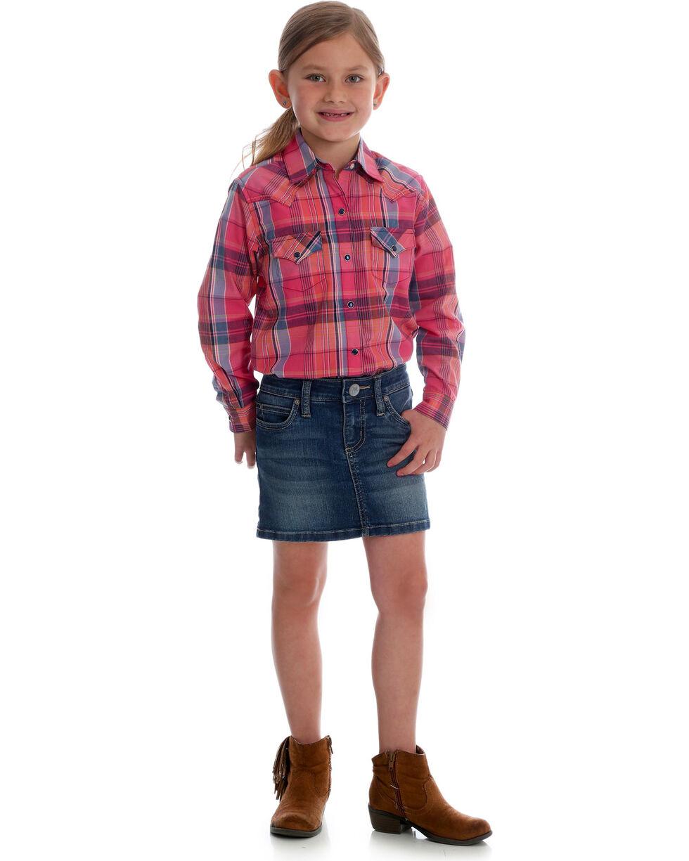 Wrangler Girls' Premium Patch Built in Shorts Skirt , Blue, hi-res