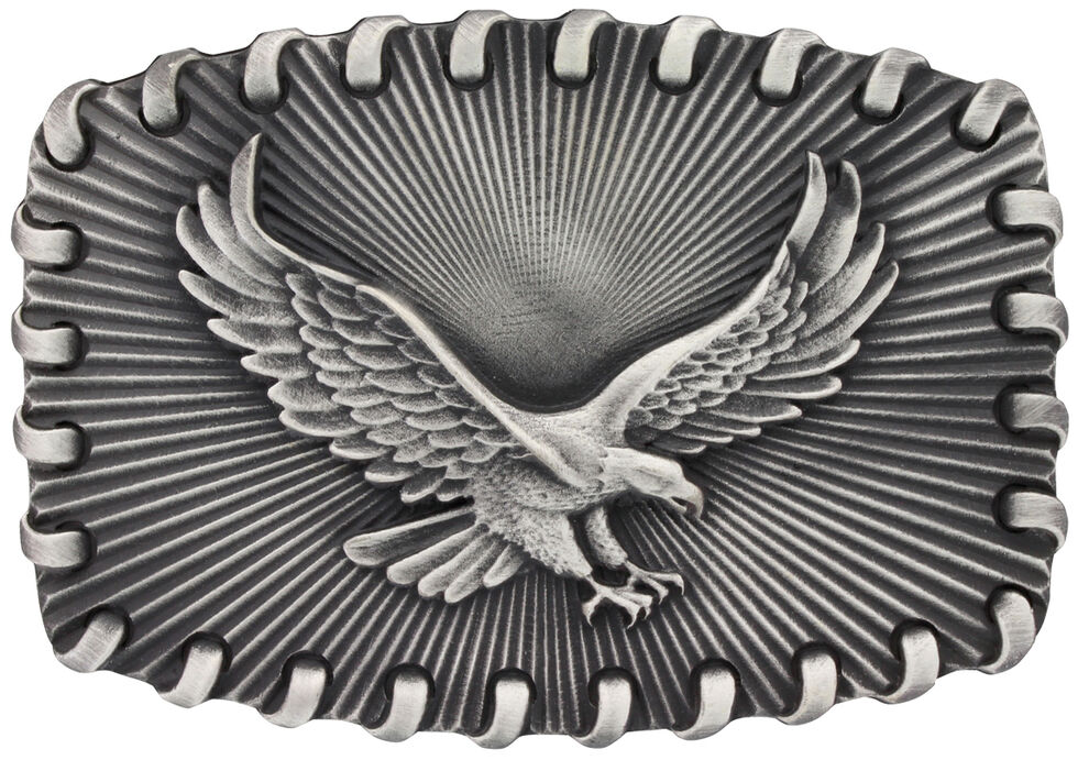 Montana Silversmiths Stitched Edge Radiating Golden Eagle Attitude Belt Buckle, Silver, hi-res