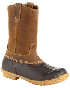 Georgia Boot Men's Marshland Pull-On Duck Boots - Round Toe, Brown, hi-res