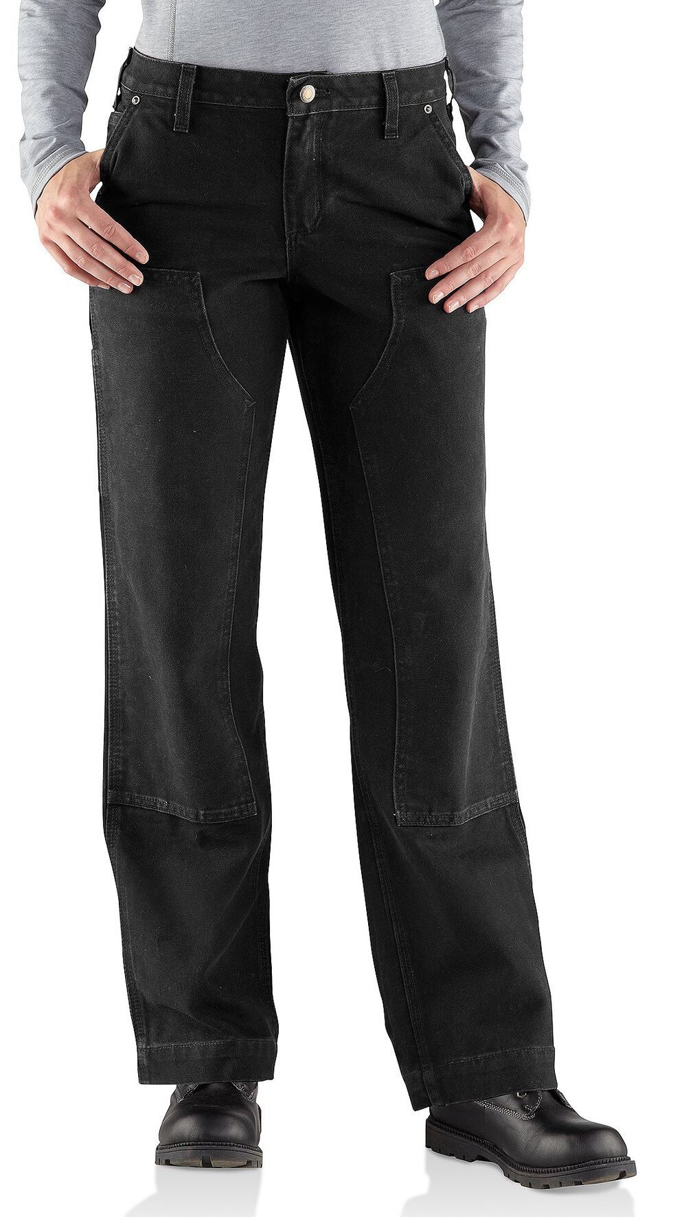 Carhartt Women's Relaxed-Fit Canvas Kane Dungaree Pants, Black, hi-res