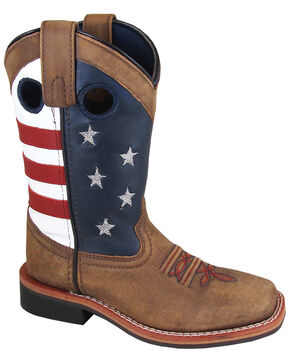 Smoky Mountain Youth Boys' Stars and Stripes Western Boots - Square Toe, Distressed Brown, hi-res