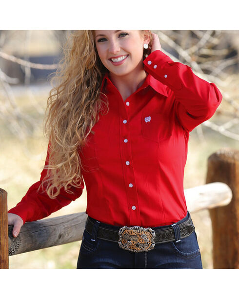 Cinch Women's Solid Red Button Down Western Shirt, Red, hi-res