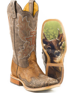 Tin Haul Men's Deerstalker Big Buck Sole Cowboy Boots - Square Toe, Brown, hi-res