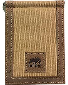Berne Men's Genuine Leather Canvas Money Clip Wallet , Brown, hi-res