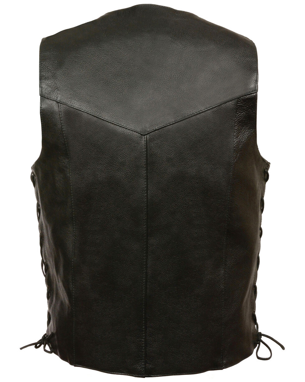Milwaukee Leather Men's Black Classic Side Lace Biker Vest , Black, hi-res