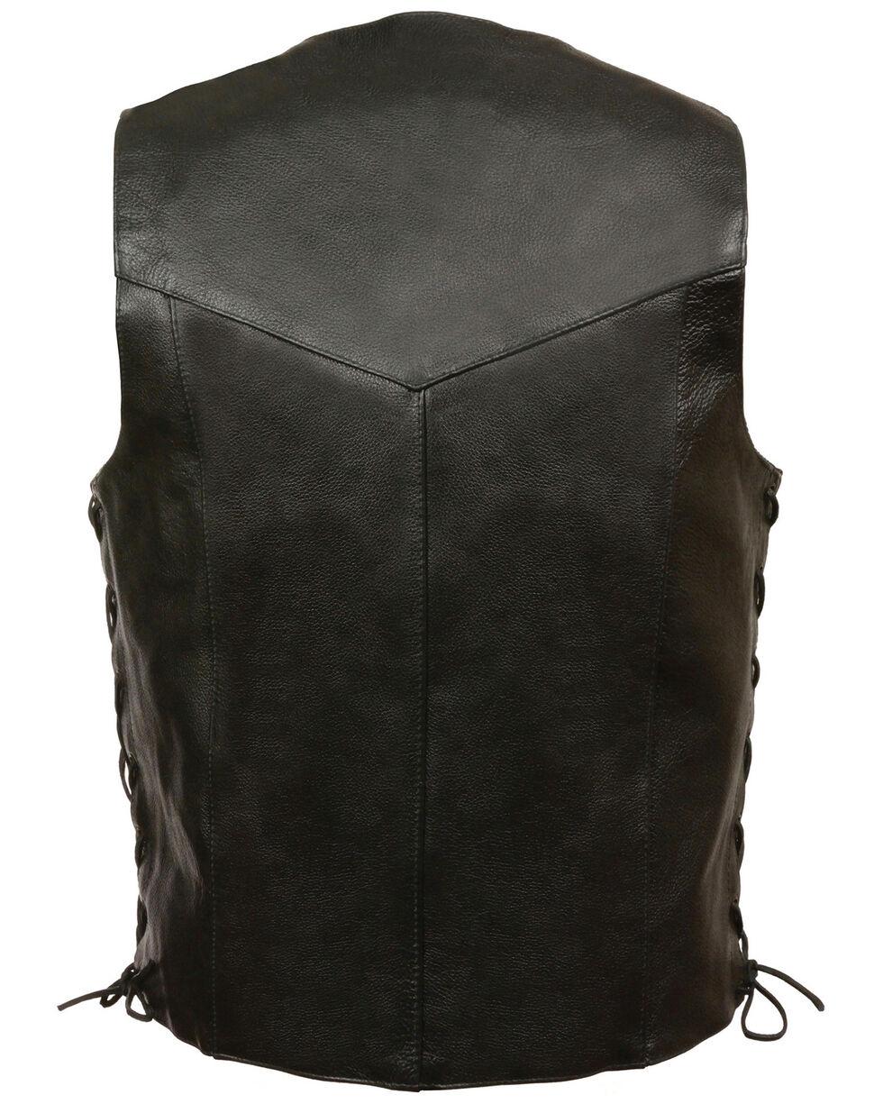 Milwaukee Leather Men's Black Classic Side Lace Biker Vest - Big, Black, hi-res