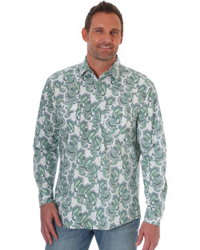 Wrangler Men's Green Paisley 20X Competition Advanced Comfort Shirt - Tall, Green, hi-res