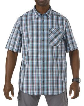 5.11 Tactical Covert Single Flex Shirt, Blue Multi Plaid, hi-res