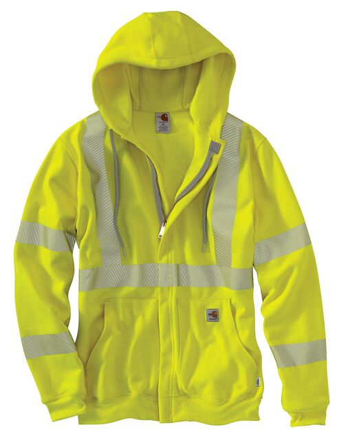 Carhartt Flame Resistant High-Visibility Zip-Front Sweatshirt - Big & Tall, Lime, hi-res