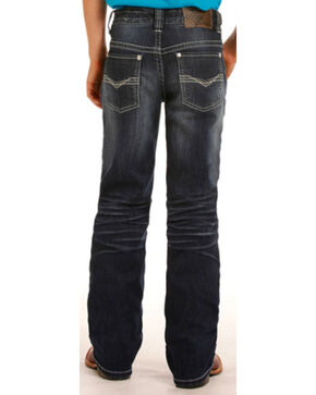 Rock & Roll Cowboy Boys' BB Gun Reflex Silver Rivets Regular Fit Boot Cut Jeans, Indigo, hi-res