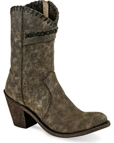 Old West Women's Distressed Charcoal Cross Stitch Cowgirl Boots - Round Toe, Charcoal, hi-res