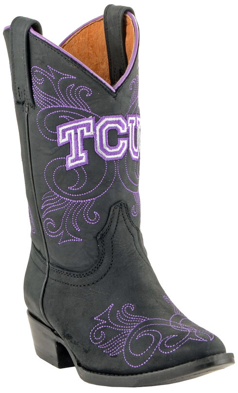 Gameday Boots Girls' Texas Christian University Western Boots - Medium Toe, Black, hi-res