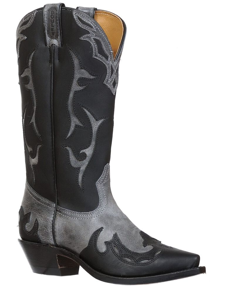 Boulet Women's Wing Tip Western Boots-Snip Toe, Black, hi-res