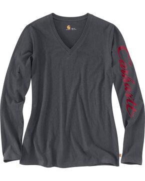 Carhartt Women's Wellton Graphic Sleeve V-Neck T-Shirt , Grey, hi-res