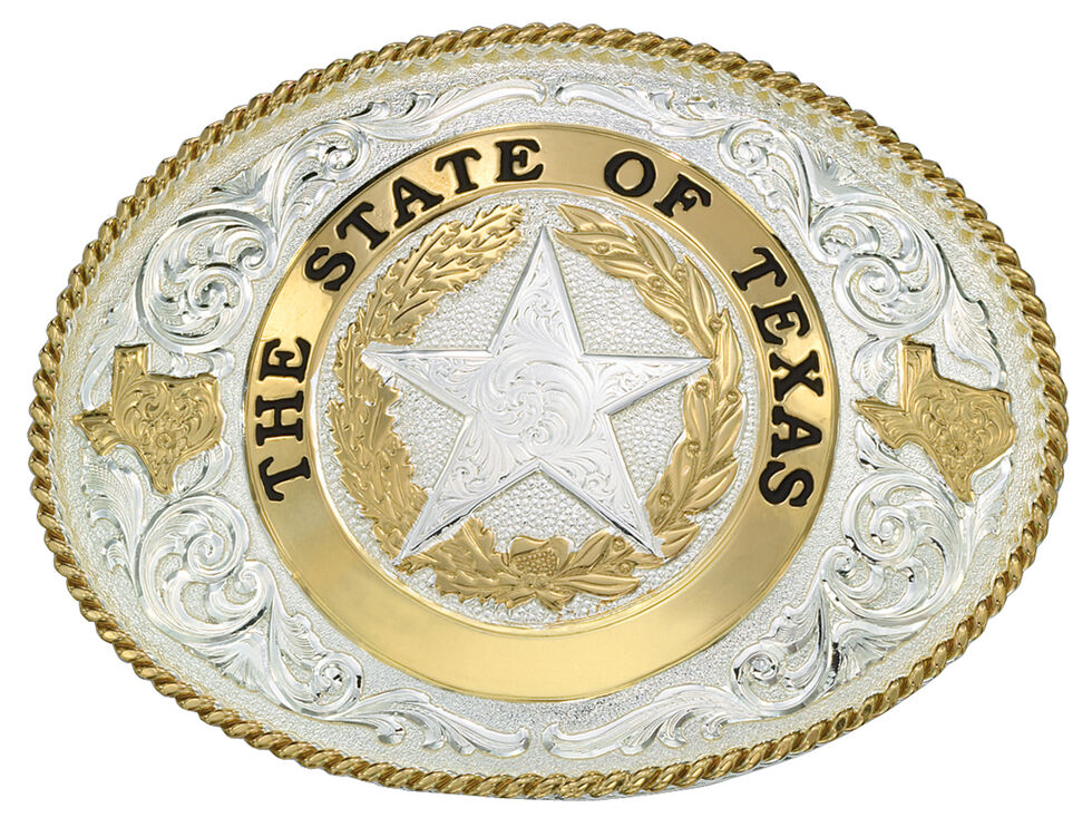 Montana Silversmiths State of Texas Star Seal Western Belt Buckle, Multi, hi-res
