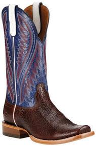 Ariat Men's Pebbled Wine Hoolihan Cowboy Boots - Square Toe , Burgundy, hi-res