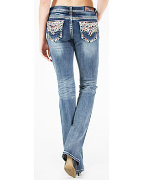 Grace in LA Women's Medium Blue Tribal Pocket Jeans - Boot Cut , Medium Blue, hi-res
