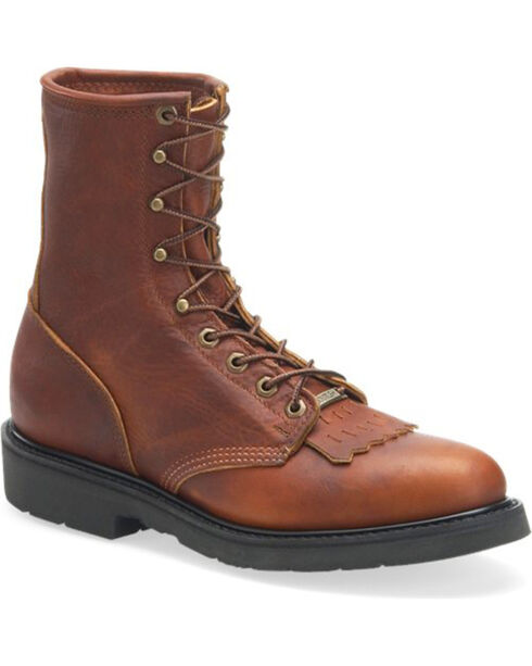 Double-H Men's Lacer Work Boots - Round Toe , Brown, hi-res