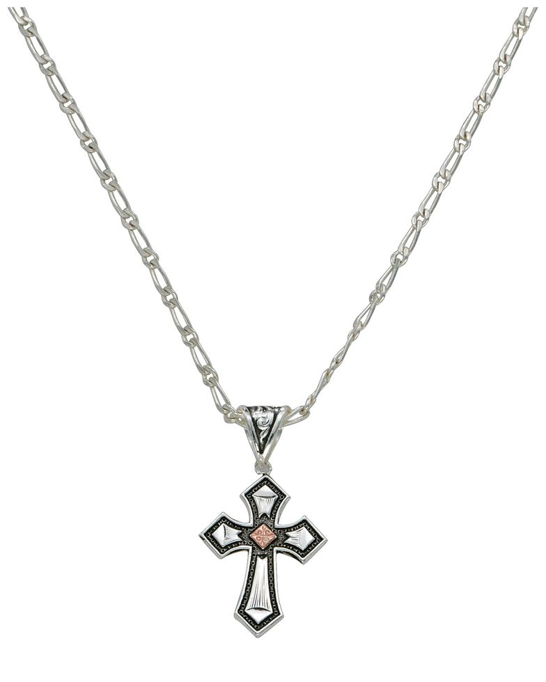 Montana Silversmiths Antique Silver with Copper Cross Necklace, Silver, hi-res