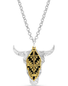Montana Silversmiths Women's Sedona Ranch Steer Skull Feather Necklace, Silver, hi-res