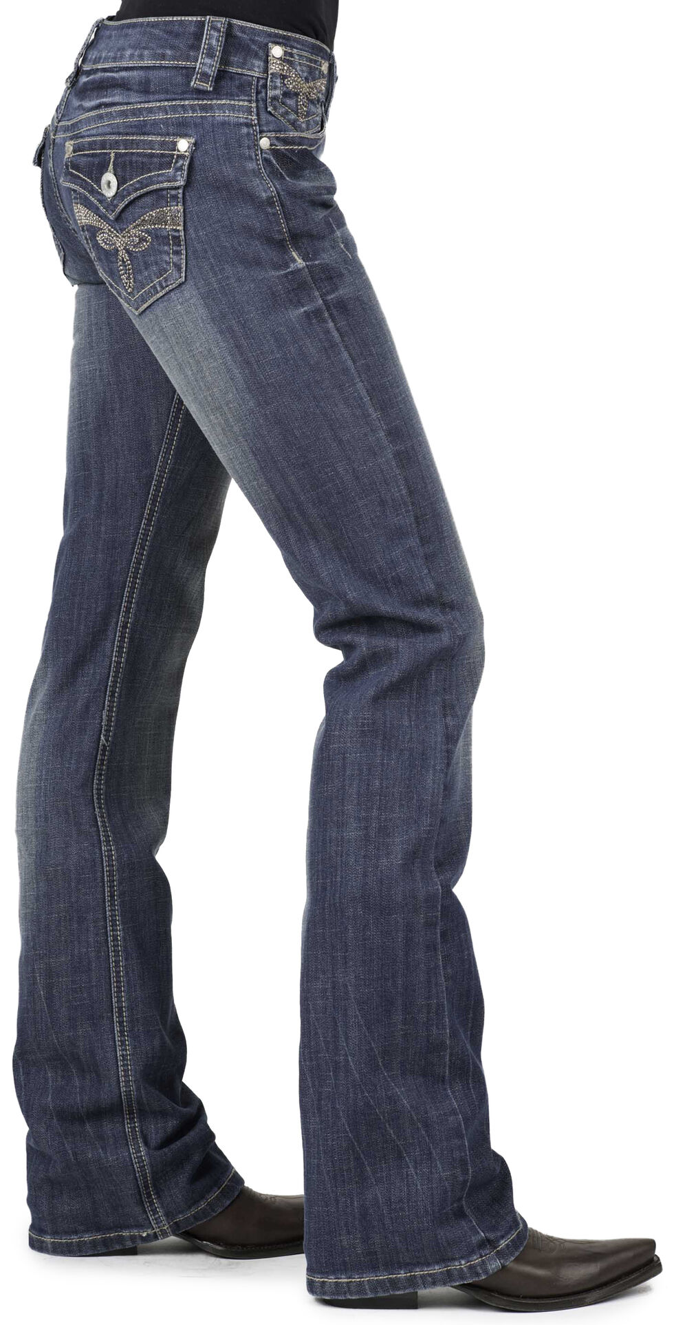 Stetson Women's 818 Fit Rhinestone Boot Cut Jeans, Denim, hi-res