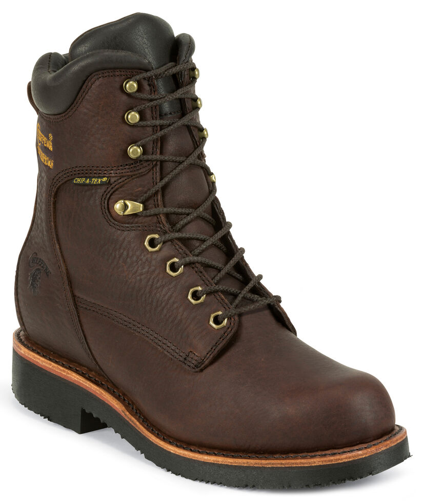 "Chippewa Men's Oiled Walnut 8"" Lace-Up Waterproof Work Boots - Steel Toe, Walnut, hi-res"