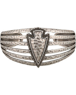 Wrangler Rock 47 Tribal Flair Arrowhead Cuff Bracelet, Antique Silver, hi-res