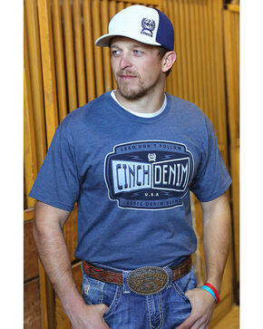 Cinch Men's Blue Cinch Denim Logo Tee, Navy, hi-res