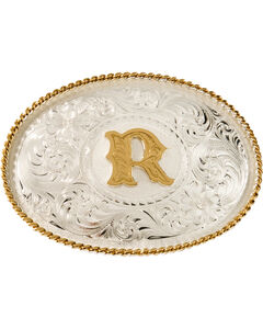 "Montana Silversmiths Initial ""R"" Buckle, Silver, hi-res"