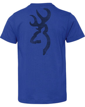 Browning Boys' Blue Distressed Buckmark Tee , Royal Blue, hi-res
