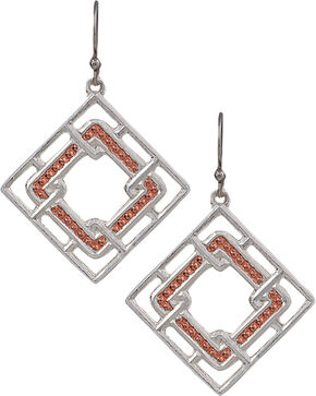 Montana Silversmiths Women's Interlocking Square Earrings, Silver, hi-res