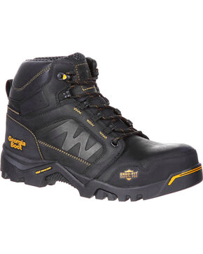 "Georgia Men's Black Amplitude Waterproof 6"" Boots - Composite Toe , Black, hi-res"